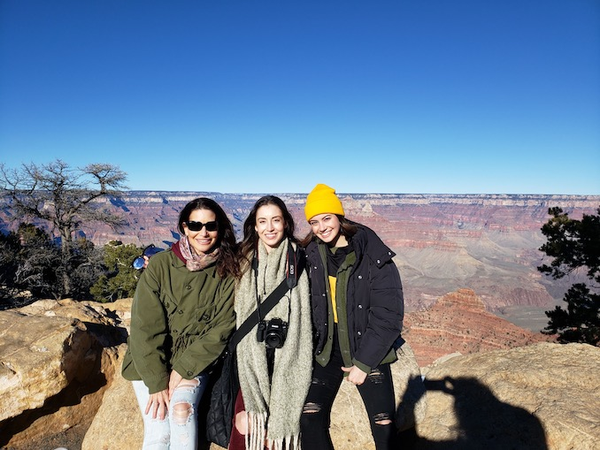 """""""With my favourite humans ever, my mom and my sister Alexa, sightseeing at the Grand Canyon last winter."""""""