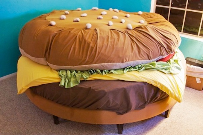 I defy you to tastefully match Harve (my 'burg sectional, pictured) with my dazzling peacock lamp (not pictured).
