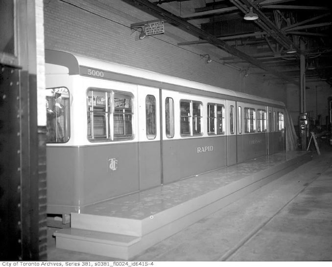 1950-January 3-Subway car at Hillcrest yards