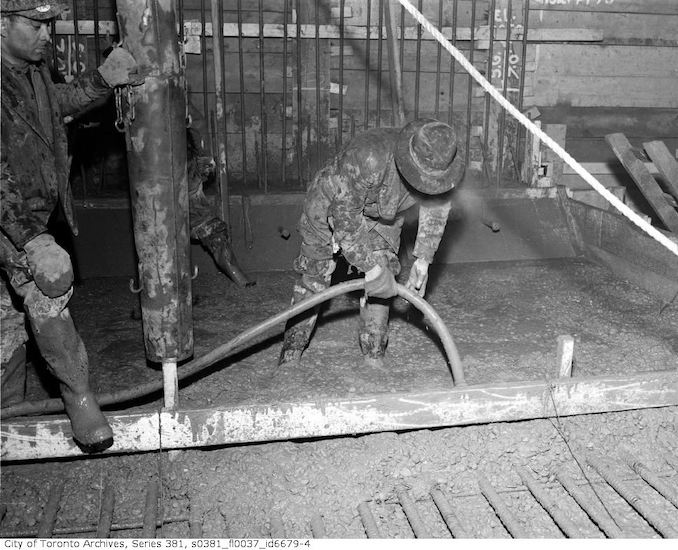 1950-March 23-First pouring of concrete, Queen and Yonge streets, underground