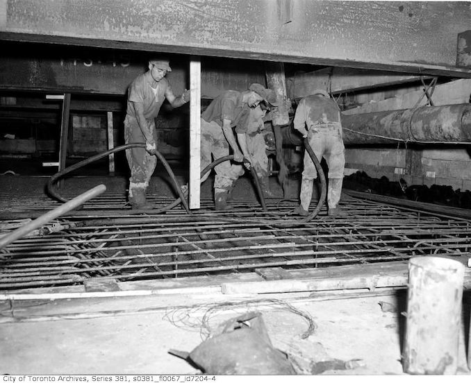 1950-September 1-Ceiling over tunnel and pouring of cement, 2 Yonge Street and Trinity Square