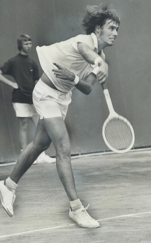1971 - A wicked smash is administered from baseline by John Alexander during centre-court