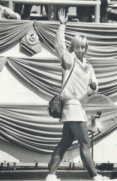 1985 - Sad farewell, Martina Navratilova waves goodbye to the crowd after losing in the quarterfinals