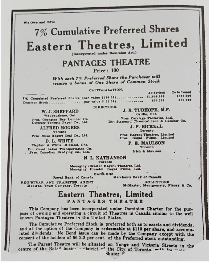 1919 - The Evening Telegram ad