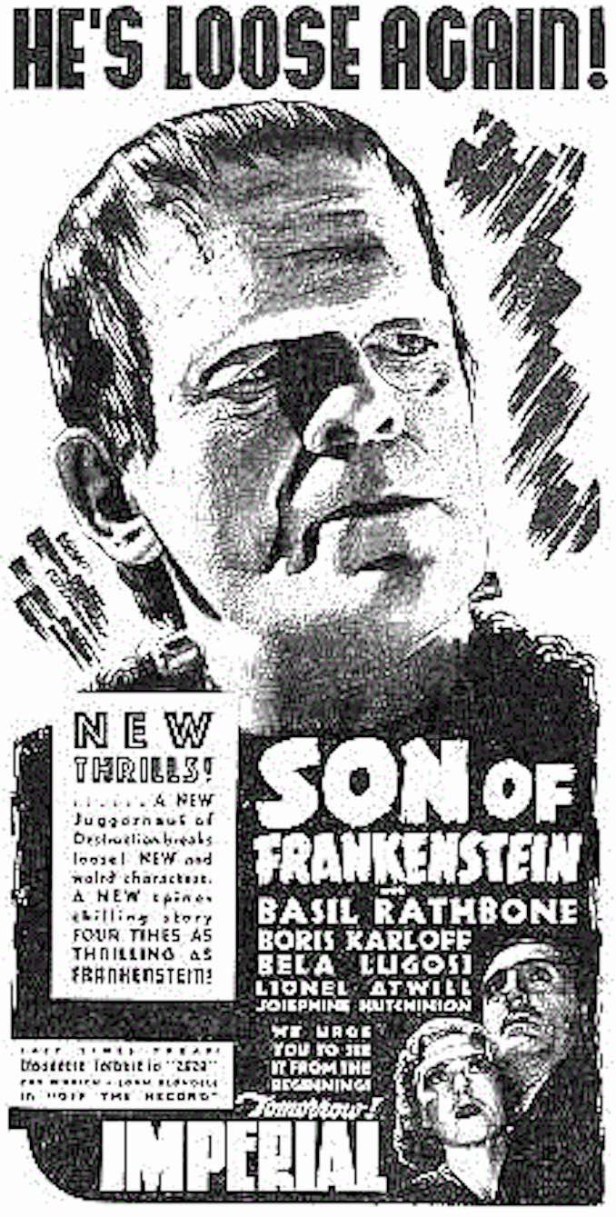 1939 - Imperial movie ad Son of Frankenstein