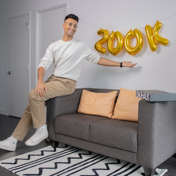 When I hit the milestone of 200,000 subscribers on YouTube this year! Here's me with some balloons that definitely say 200K & not ZOOK haha.