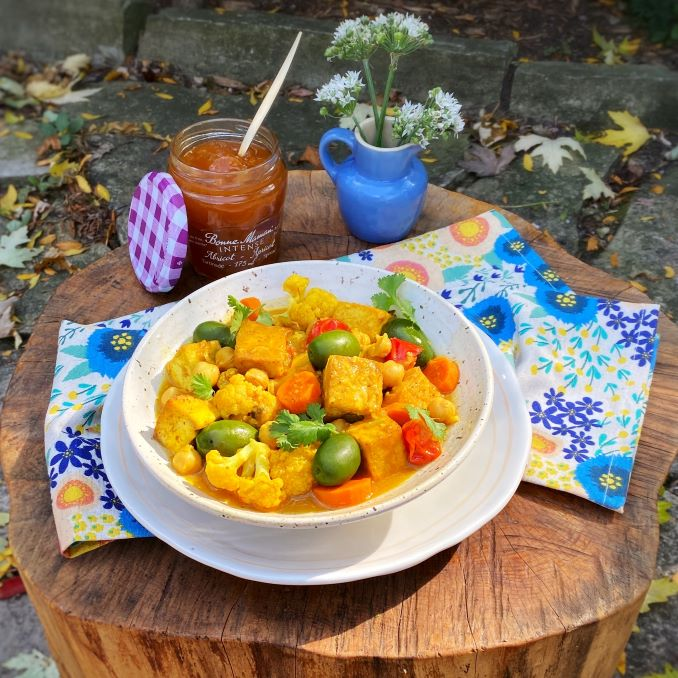 Spiced Tofu and Vegetable Tagine with Apricot