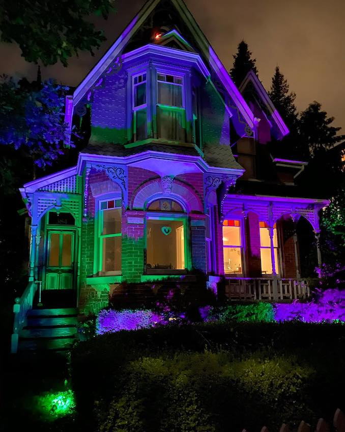 This house has really striking lighting, and when I did research on it I found out it's called the Witch House!