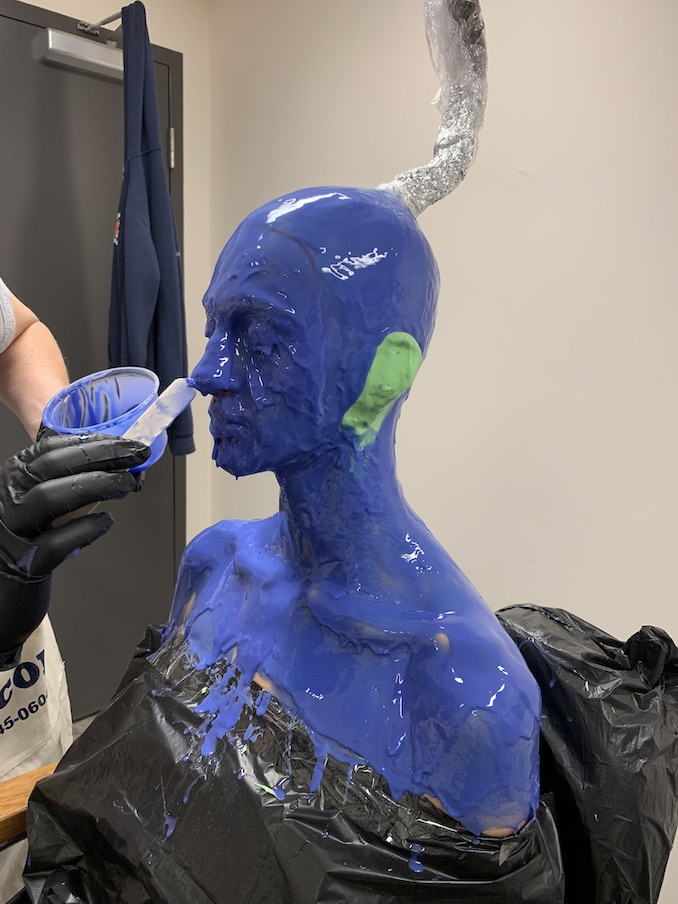 Getting a life cast done to play a fun alien!