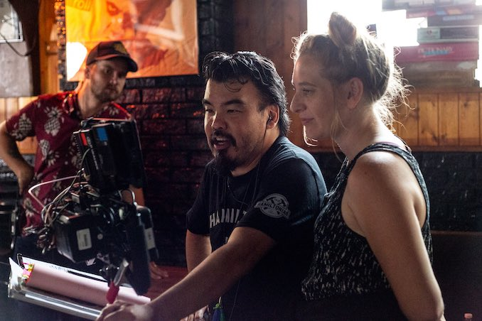 "A serious behind-the-scenes snap of ""Things I Do For Money"" with Director Warren P. Sonoda (my cutie Husband). Photo by the wonderful Megan Vincent."