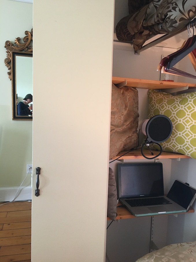 My fancy closet recording booth! Tiny Ruins will soon be available as an audiobook!