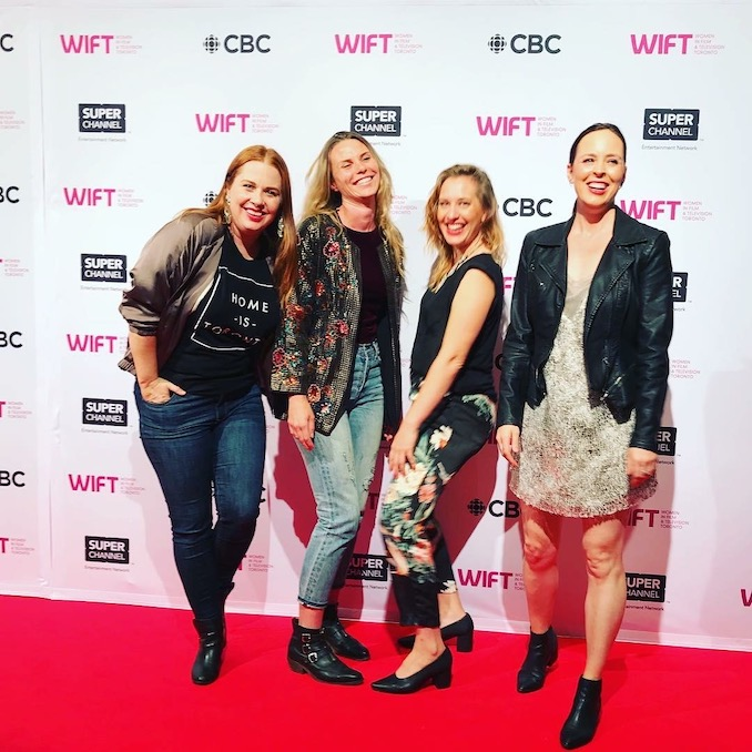 the Women in Film and Television TIFF red carpet with the ladies of JESSICA JESSICA Short Film – co-creator/co-star Jessica Greco, director Jasper Savage, producer Jen Pogue, co-creator/co-star Jessica Hinkson