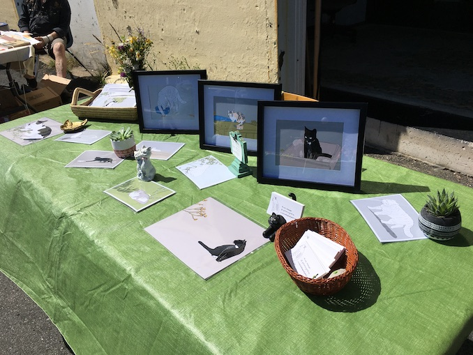 I draw cats! Here are my cat drawings at an art market at Eastern Edge Gallery/St Michael's Print Shop in St. John's.