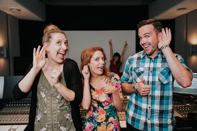 The Women on Screen Out Loud Podcast Team goofing around at our Season 1 Sponsor Studio – Redlab Digital. Witih co-creators/hosts Jen Pogue, Lara Jean Chorostecki, Guest Grace Lynn Kung & Sound Recorder/Mixer John Lawless