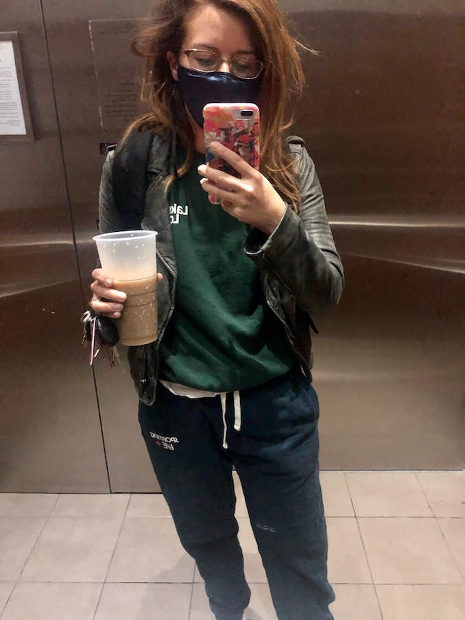 So, this is a very glam photo of me at the crack of dawn on my way to shoot Private Eyes. My bed head is really out to play and it seems I couldn't find a lid for my coffee but I'm not worried cause I will down it in two minutes.