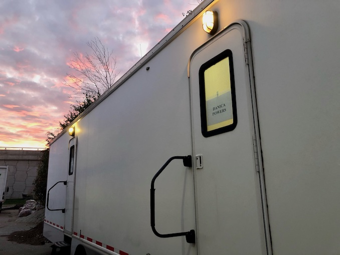 I arrive to set and head straight to my trailer (Danica Powers is my character on the show). I drop off my stuff, refill my coffee and head to hair and makeup!
