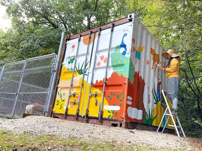 Painting a mural for High Park Zoo