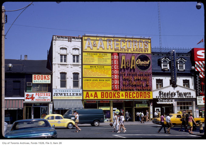 1971 - View of A & A Books and Records on Yonge Street