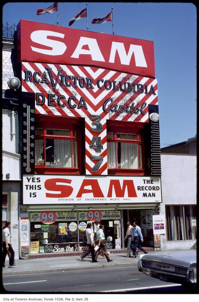 1971 - View of Sam the Record Man on Yonge Street