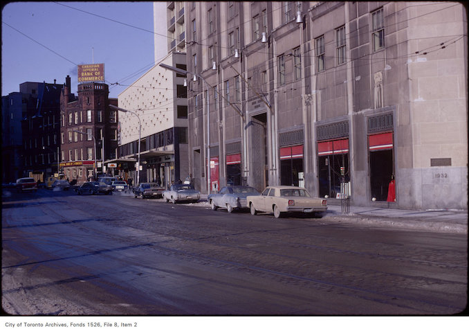 1971 - View of north side of Carlton Street, looking east to Yonge Street