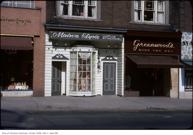 1971 - View of shops on the east side of Yonge Street, north of St. Clair