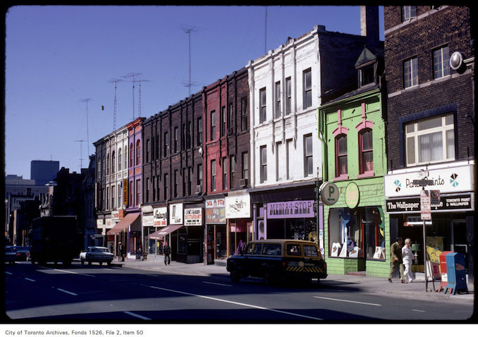 1971 - View of stores on Yonge Street, looking south from Wellesley