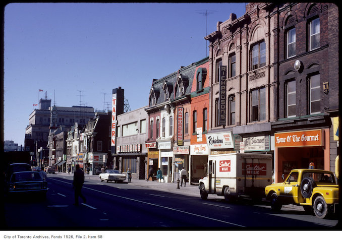1971 - View of stores on Yonge Street, south of Wellesley