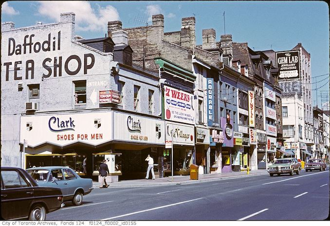 1972 - Yonge Street, west side, south of Dundas Street at Trinity Square