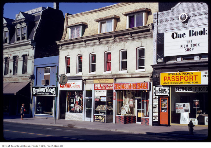 1973 - View of CineBook and other stores along the west side of Yonge Street, between Bloor and Wellesley Streets