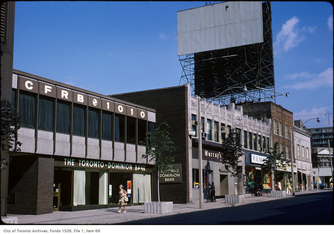 1973 - View of shops on the west side of Yonge Street, north of St. Clair