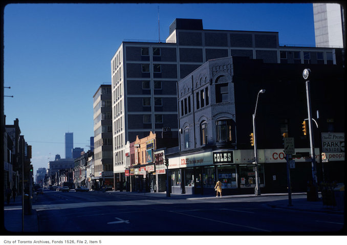 1973 - View of west side of Yonge Street, looking south at Charles Street East