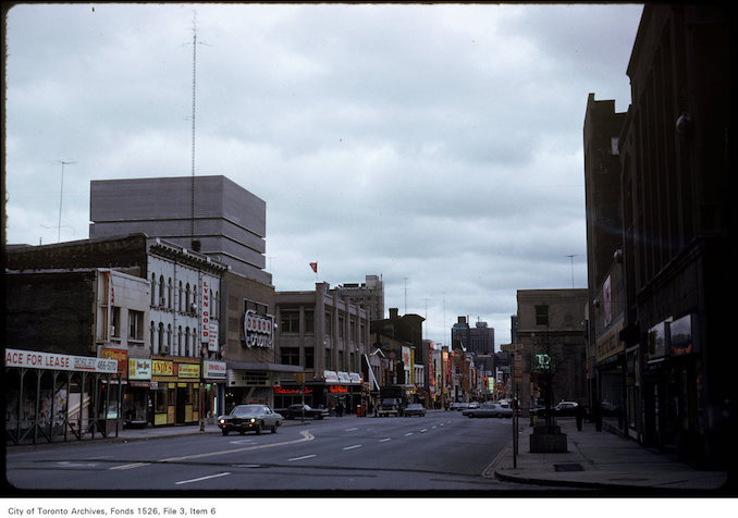 1974 - View of Yonge Street, looking south from Hayter Street