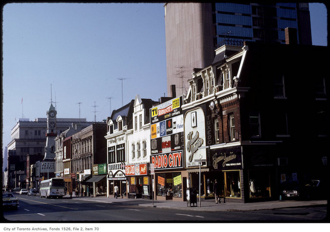 1974 - View of shops on the west side of Yonge Street at Breadalbane