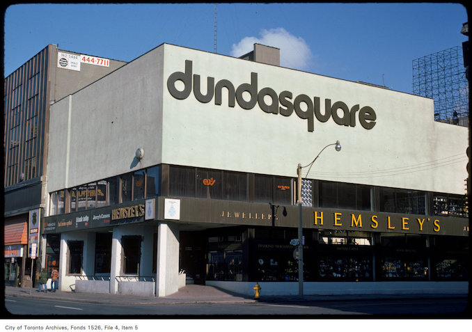 1975 - View of Dundas Square on the east side of Yonge Street, south of Dundas