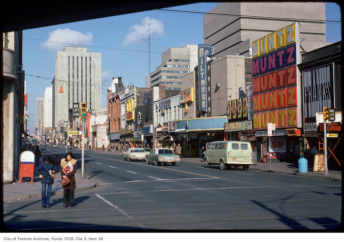 1975 - View of Yonge Street, looking north from Dundas Street