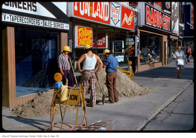 1975 - View of construction on Yonge Street in front of Funland Arcade, south of Wellesley