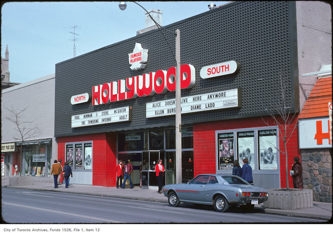 1975 - View of the Hollywood Theatre on the east side of Yonge Street north of St. Clair