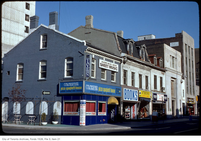 1977 - Closer view of shops on the west side of Yonge Street, south of Gerrard