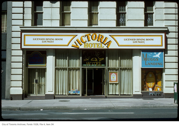 1977 - View of front of the Victoria Hotel on Yonge Street, north of Wellington