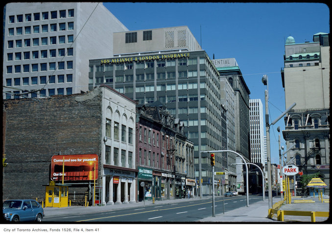 1977 - View of west side of Yonge Street, north from Front Street West