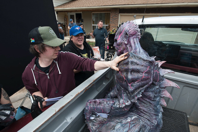"""Helping slime up PG while on set for """"PG: Psycho Goreman"""""""