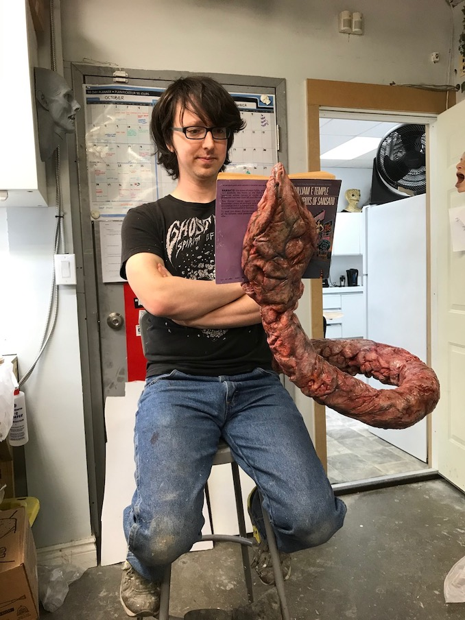 Testing out a poseable tentacle for Umbrella Academy while working at Masters FX Toronto.
