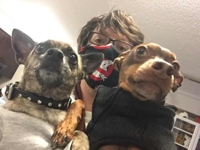 Hanging with my dogs, Thumbelina and Bebop!