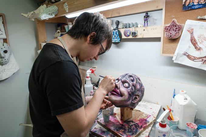 "Painting monster masks for at Masters FX for ""PG: Psycho Goreman"""