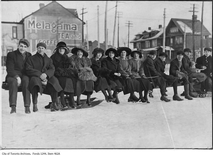 1909 - Group on huge toboggan, Christie Pits