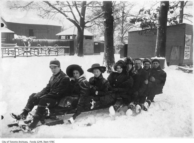 1909 - Group on toboggan, High Park