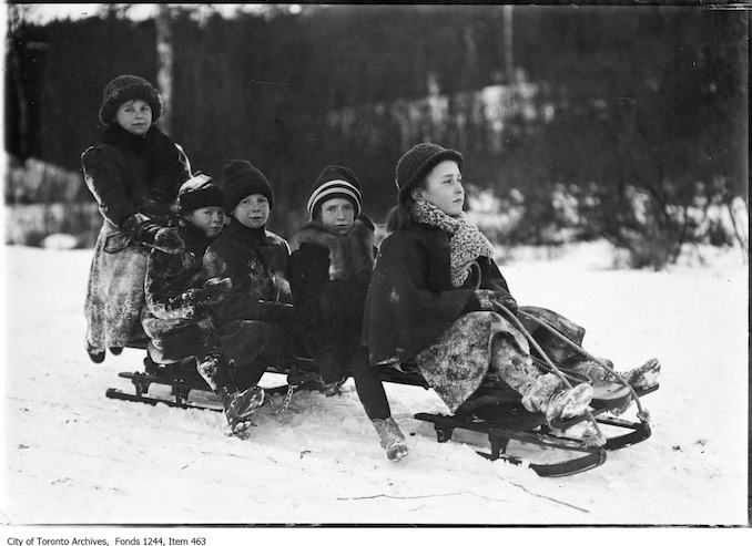 1910 - Children on sled, High Park