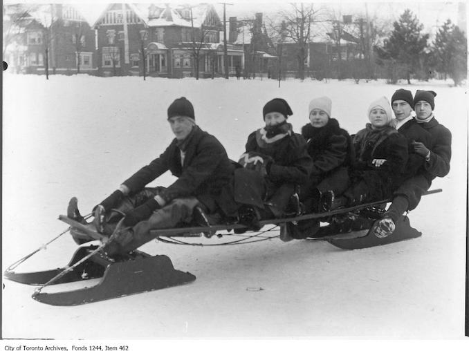 1912 - Group on sled, Riverdale Park