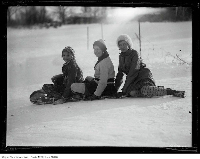 1931 - Rosedale Golf [Course], three girls on toboggan