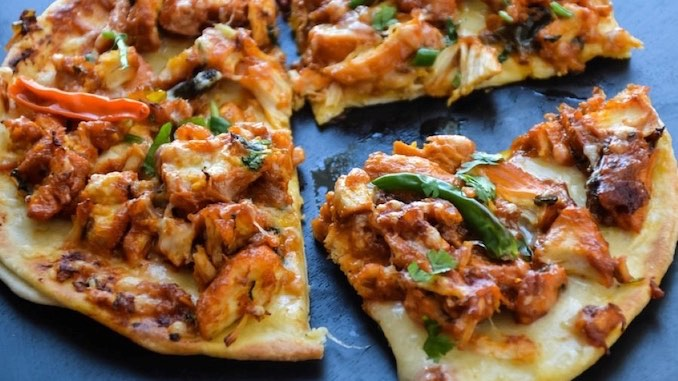 Pulled Turkey Naan Pizza